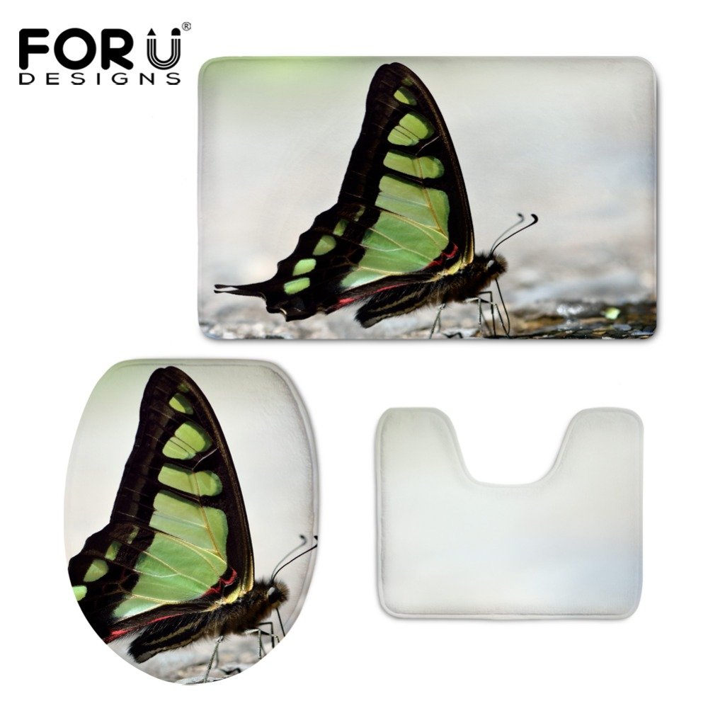HUGSIDEA 3D Beauty Butterfly Print Toilet Seat Covers Mat Warmer Soft Bathroom Carpet Toilet WC Accessories 3 PCS Set Home Decor