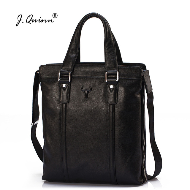 J.Quinn Vertical Mens Briefcases Bags Genuine Cowhide Leather Large Capacity Male Shoulder Bags Brand Business Handbag for Men