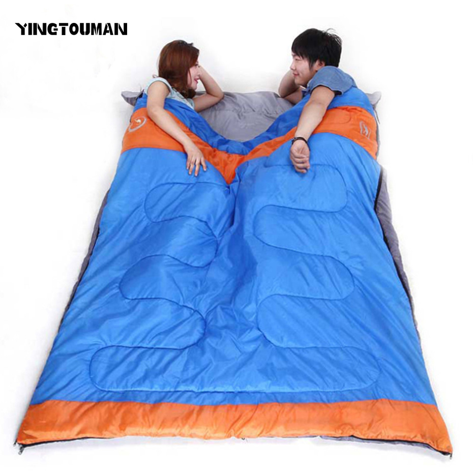 YINGTOUMAN  2 Person Outdoor 3 Season Camping Hiking Sleeping Bag Cotton Double Sleeping Bag 2 Color Tent Travel Waterproof Bags high quality outdoor 2 person camping tent double layer aluminum rod ultralight tent with snow skirt oneroad windsnow 2 plus