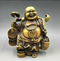Chinese Copper Fengshui Yuanbao Wealth Happy Laugh Maitreya Buddha Statue