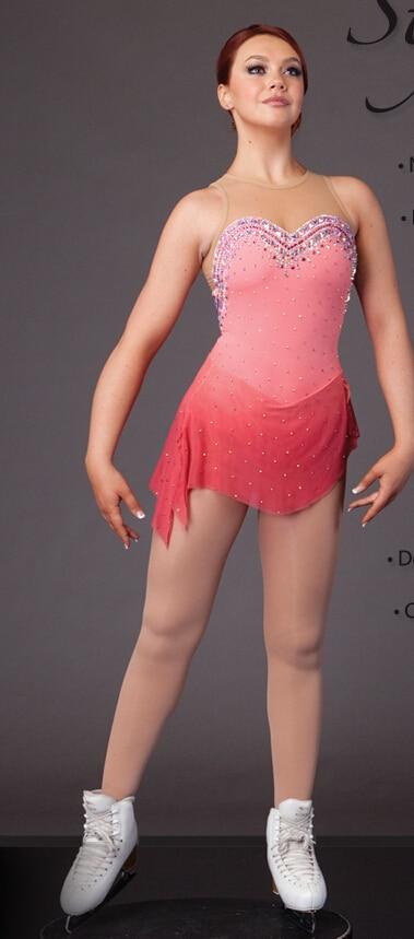bruslení šaty soutěže ženy růžové bruslení šaty vlastní vysoká elasticita dívky krasobruslení opotřebení doprava zdarma