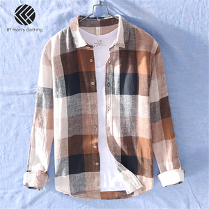 Image 3 - 男性春と秋のファッションブランド中国カラフルなチェック柄のコットンリネン長袖シャツ男性カジュアル薄型シャツ