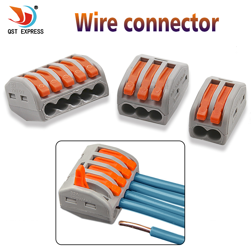 2//3//5 Way Connector Wire Reusable Spring Lever Terminal Block Electric Cable 1, port 2