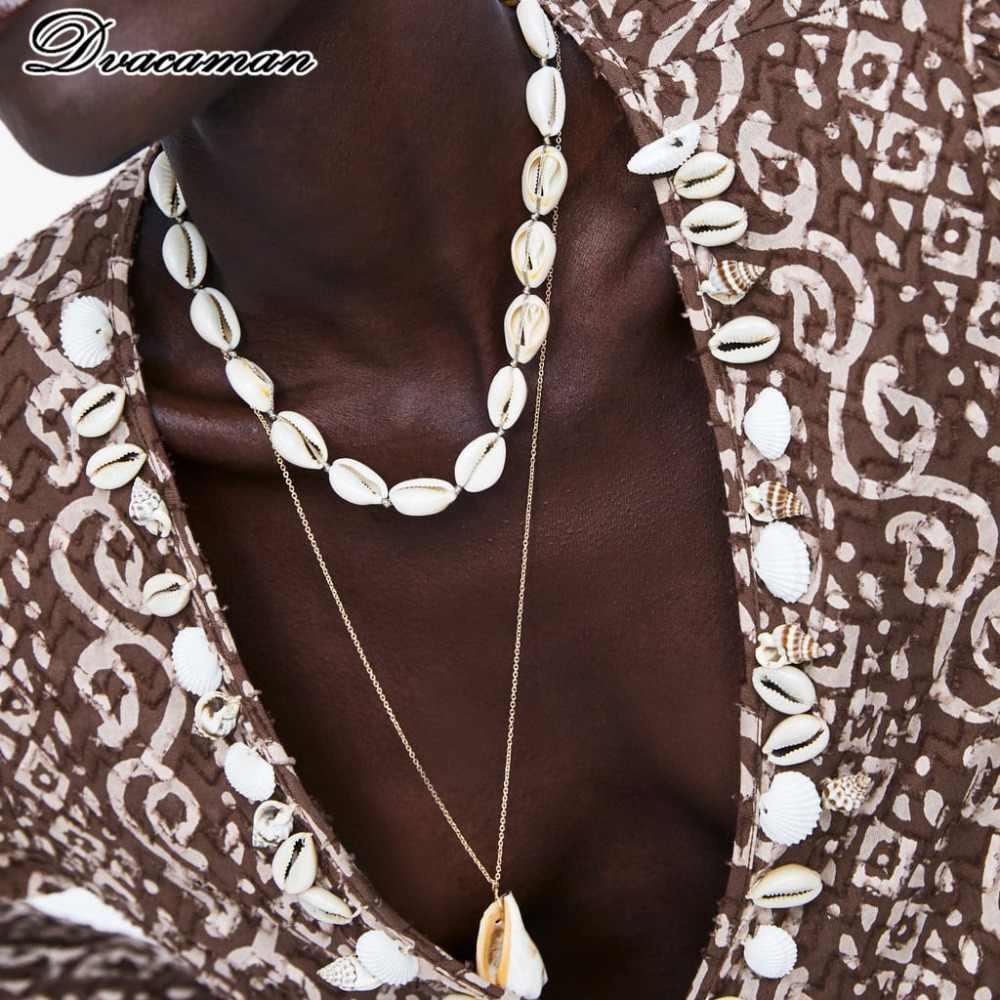 Dvacaman 2019 ZA nouveau collier pendentif coquillage ensemble pour les femmes mode pierre naturelle longue chaîne collier fête cadeau bijoux femme