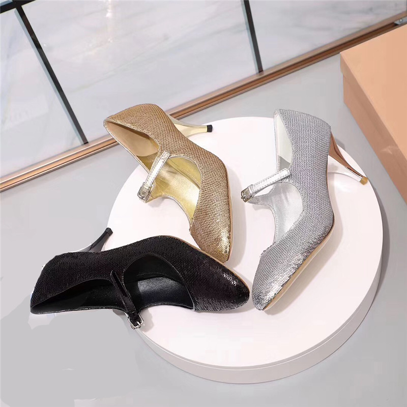 Une High Automne gold Mary black Low 2019 Silla Pour Pointu Mince Haut Black Chaussures Pompes silver Nouveau Sangle Janes Mariage High Low gold Bling Bout De Dirigeants Talon Femme High silver Femmes Low qtxHAxg7
