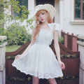 Princess sweet lolita dresses BOBON21 fairy style solid cute sleeveless dresses with mixed lace/flowers and bow D1370