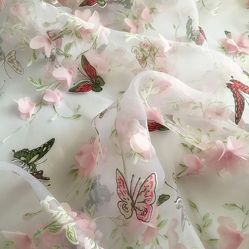 butterfly print organza material applique chiffon lace fabrics for wedding dress gowns pink. Black Bedroom Furniture Sets. Home Design Ideas