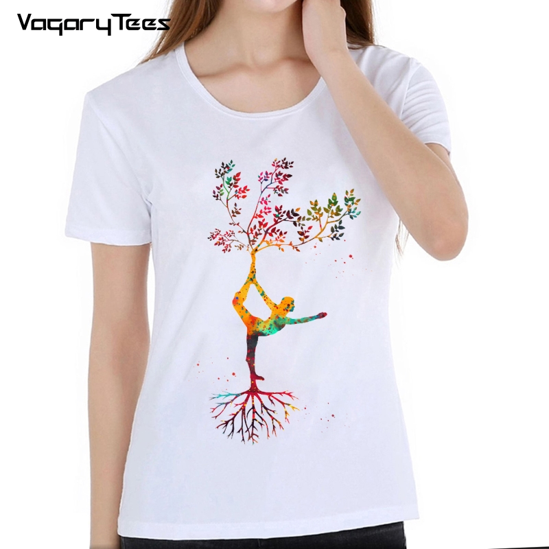 Popular Exercise Pose tree <font><b>Om</b></font> Chakras Mindfulness Meditation Zen Art <font><b>Tshirt</b></font> Summer Women t-shirt Casual Girl Tops Fashion Woman image