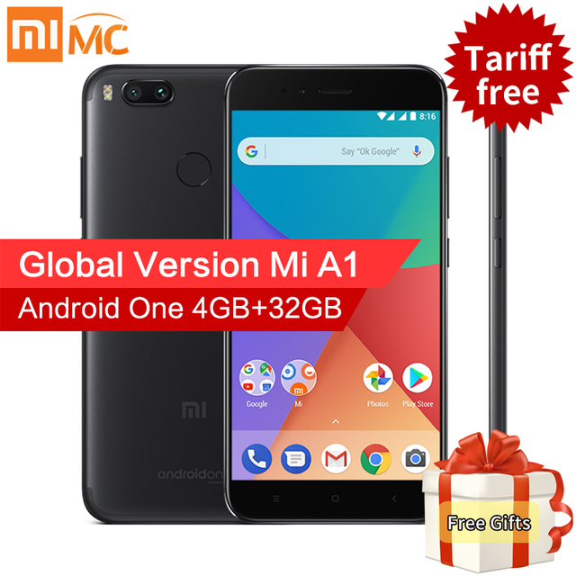 "Глобальная версия Сяо Mi A1 4 ГБ 32 ГБ Mi смартфон 12.0mp двойная камера Snapdragon 625 Octa Core 5.5 ""FHD дисплей android 7.1.2 ce"