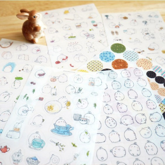 6sheets/set Cute Kawaii Potato Rabbit Creative transparent PVC sticker photo album decorative stickers child DIY School Supplies auto accessories chameleon sticker 30m 1 52m functional car pvc red copper color stickers home decorative films stickers