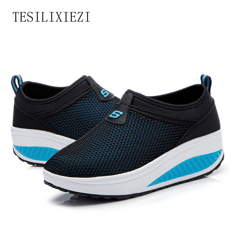 2016 Summer Shoes Women Causal  Fashion Walking Flats Height Increasing Women Loafers Breathable Mesh Swing Wedges Shoe hot height increasing 2016 summer shoes women s casual shoes sport fashion walking shoes for women swing wedges shoes breathable