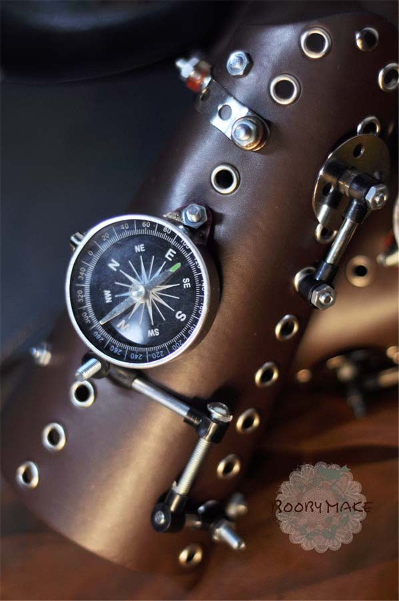 Steampunk Pu Leather Bandage Glove Retro Arm Bracelet With Compass Screw Gear Halloween Costumes Punk Style Accessory Boys Costume Accessories Kids Costumes & Accessories