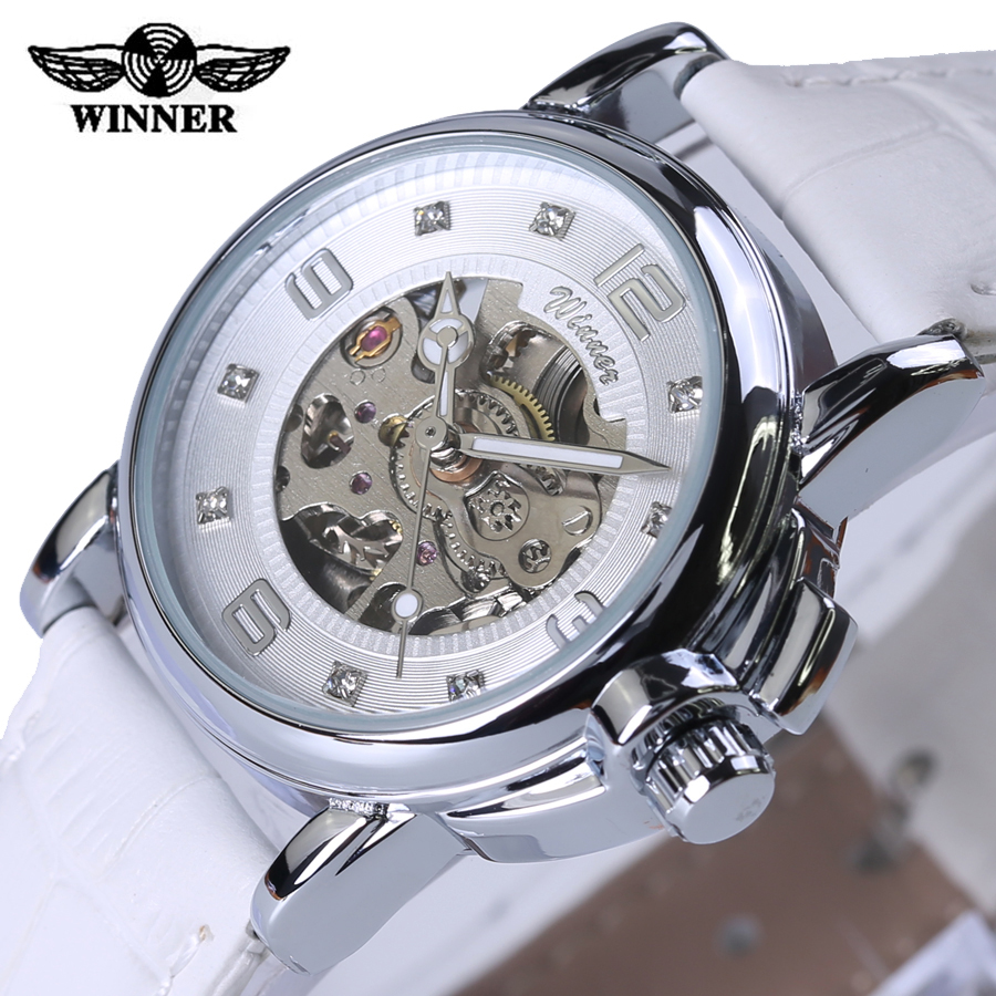 font b Winner b font relojes mujer 2016 Lady Diamond dial White Leather Mechanical Skeleton
