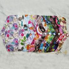 2015 Бесплатная доставка многоразовые ткань органических бамбука Гигиенических Прокладок, моющиеся ПУЛ печати менструального pad для женщин женская гигиена 6 шт.