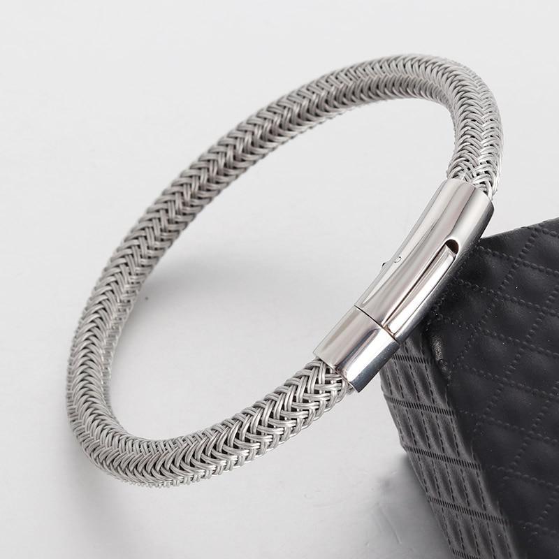 Bracelets En Cuir Véritable Bracelets Avec Câble En Acier Inoxydable C Fermoirs Bracelets de Manchette Pour Homme Femme Bracelets 1