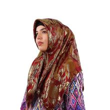 Lady Silk Jacquard Square Hjiabs Muslim Scarf Turban Ultralight Retro Shawl Turkish Hijab Women Islamic Headscarf Factory Outlet