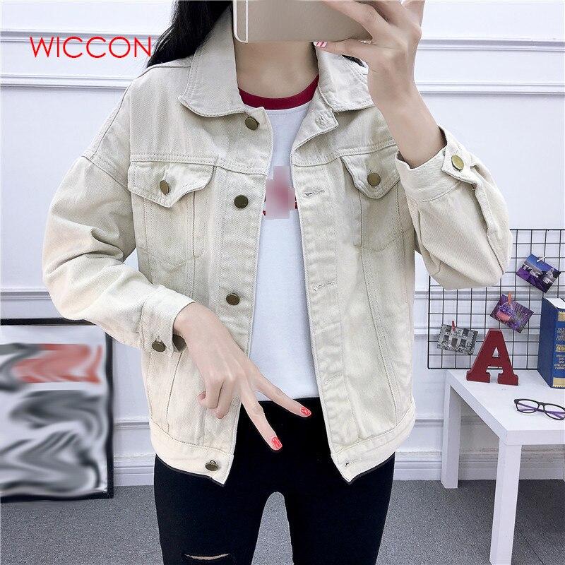 Women Beige Khaki Green   Basic     Jacket   Denim Women's Loose Korean Female Coat Spring Autumn Women   Jacket   Jeans Casual