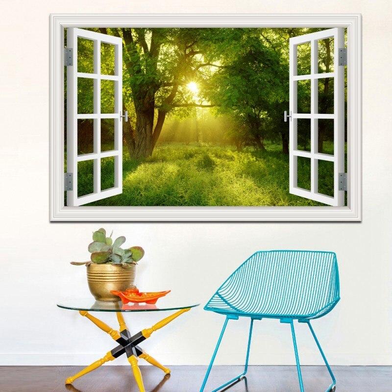 Increíble Bosque Tree 3D Etiqueta de La Pared Removible Window Vista Paisaje Wal