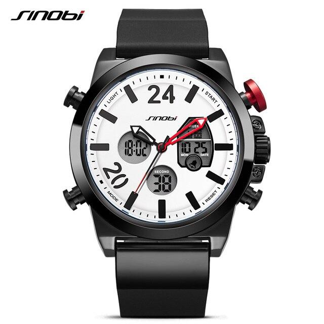 28febf6caf3 Marca De Luxo SINOBI Homens Esporte Militar Relógios Digitais dos homens de  Quartzo Relógio Cronógrafo de