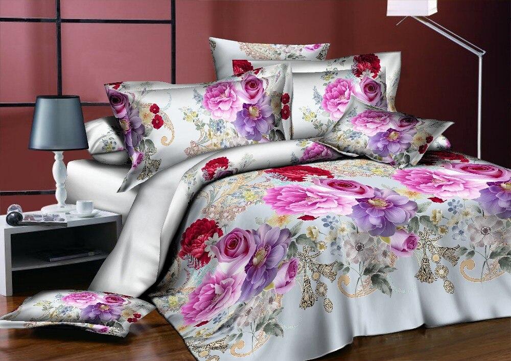 BEST. WENSD ensemble de literie classique roi reine pleine taille gris bleu fleur Rose linge de lit housse de couette ensemble AB housse de couette côté 2018 lit - 6