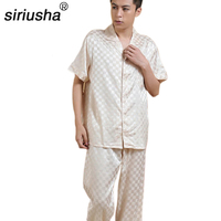 Siriusha Sleepwear Male Silk Short Sleeve Length Pants Thin Silk Spring And Autumn High Quality Silk