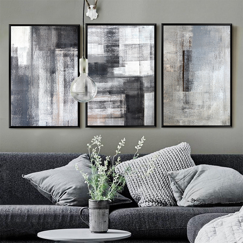 Minimalist Geometric Grey Black Color Block Landscape Abstract Canvas Painting Modern Poster And Print Wall Pictures Living Room