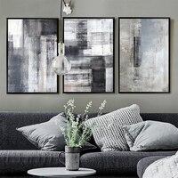 Minimalistische Grijs Zwart Kleur Blok Landschap Abstract Canvas Schilderij Moderne Kunst Poster en Print Muur Foto 'S voor Woonkamer