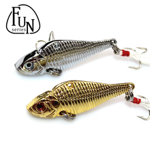 FunSeries 2pcs/lot Metal Artificial Fishing Lure Spinnerbait Spinner Bait VIB 8# Hooks 12.5g/5cm Hard Minnow Bait Fishing Tackle