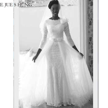 E JUE SHUNG White Lace Mermaid Muslim Wedding Dresses 3/4 sleeves Detachable Train Wedding Gowns Bride Dress robe de mariee - DISCOUNT ITEM  32% OFF All Category