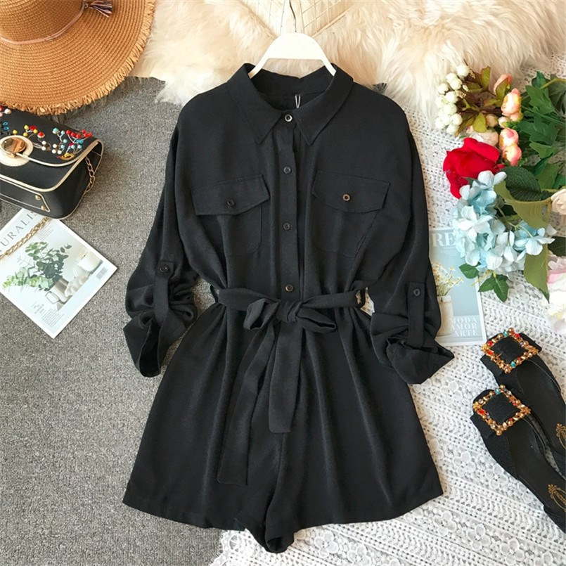 2019 Spring Chiffon Jumpsuit Women Jumpsuits Casual Bandage Playsuit Sashes Long Sleeve High Waist Overalls Work Romper