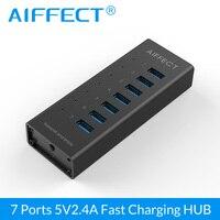 Aiffect 7 Super Speed Aluminium BC1.2 Porty USB do Ładowania z USB 3.0 Hub 12 V 2A dla iPhone Xiaomi HTC LG 100 CM Kabel Do Transmisji Danych