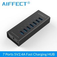 BC1.2 Aiffect 7 Puertos Super Speed de Aluminio USB Puertos de Carga con USB 3.0 Hub 12 V 2A para el iphone Xiaomi HTC LG 100 CM Cable de Datos