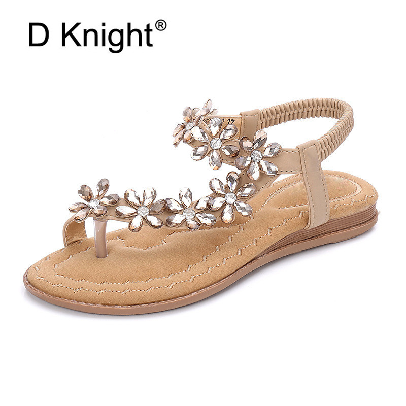 Boho Mujeres Zapatos Confort Sandalias Verano Moda Chanclas Cristal - Zapatos de mujer