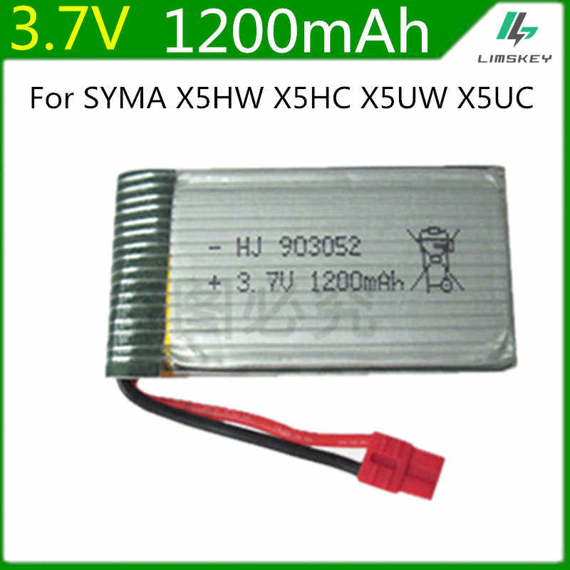 3.7 v 1200mah bateria lipo para syma x5hc x5hw rc quadcopter peças de reposição 3.7 v 1200mah bateria rc câmera zangão acessórios