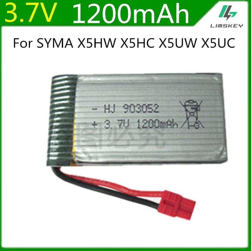 3.7V 1200mah Lipo Battery For Syma X5HC X5HW RC Quadcopter Spare Parts 3.7V 1200mAh Battery RC Camera Drone Accessories