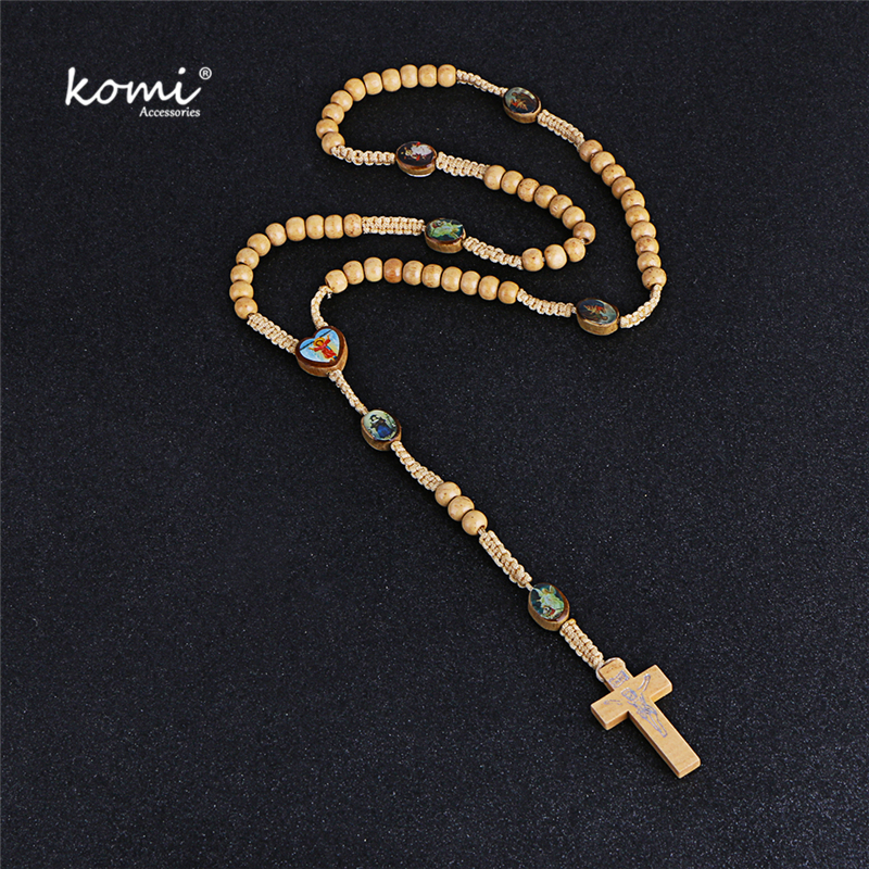 Komi Wooden Beads Necklace Vintage Rosary Necklaces Catholicism Prayer Religious Jewelry 2018 New Accessories