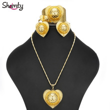New Heart-Shaped Ethiopian Bridal Jewelry Sets Women Wedding Gold Plated set African Nigeria Sudan Eritrea Habasha style A300057
