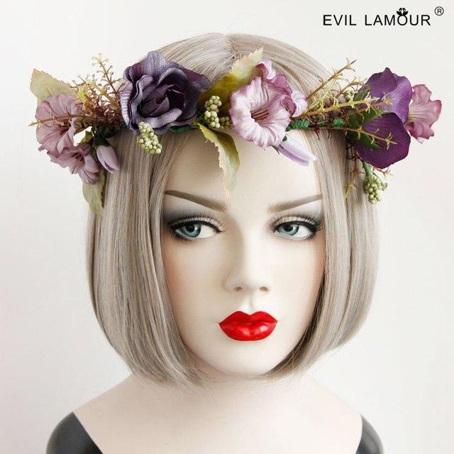 Princess sweet lolita Hawaii Style seaside photograph mori girl purple  wreath Head band stage show head a706aeabccb2