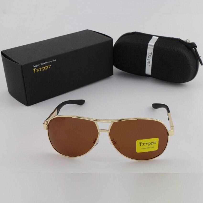 Txrppr Vysoce kvalitní Módní sport Zlatý rám Hnědé polarizované pánské a dámské sluneční brýle Značky UV400 Značkové sluneční brýle