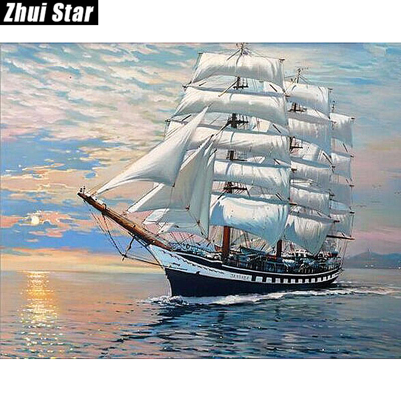 "New Full Square Diamond 5D DIY Diamond Painting ""Sea and Boat"" ասեղնագործություն Cross Stitch Rhinestone Mosaic Painting Dekry Gift"