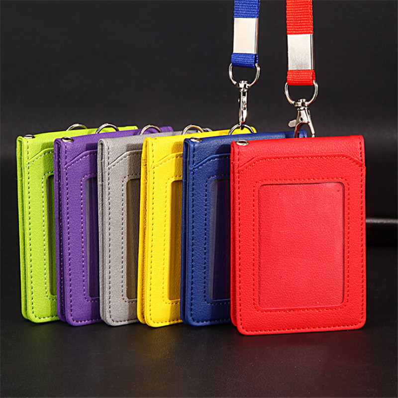 Leather Wallet Work Office ID Card Credit Card Badge Holder + Lanyard + 5 Slots Bank Card Holders ID Badge Holders Accessories
