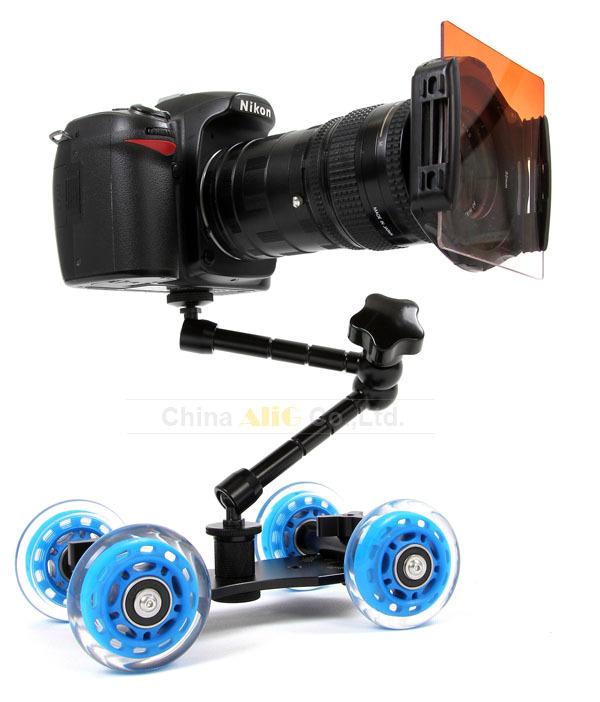 Prix pour Mini desktop caméra ferroviaire table voiture dolly vidéo curseur piste pour d5100 d7000 d7100 60d 5dii 5 5diii 7d DSLR accessoires