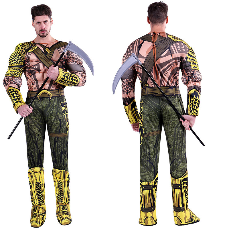 Adult Men muscle Aquaman Costume Performance Super Hero King Jumpsuit Fancy Dress Halloween Party movie Aquaman Clothes