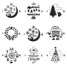Happy New Year Set Sticker Painting Stencils for Diy Scrapbooking Stamps Home Decor Paper Cake Card Template Decoration Album merry christmas trees sticker painting stencils for diy scrapbooking stamps home decor paper card template decoration album