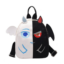 Hote Cute Cartoon Angel Demon Devil Small Backpack Funny Japanese Harajuku Angel Wings Mini School Bag Women Shoulder Bags