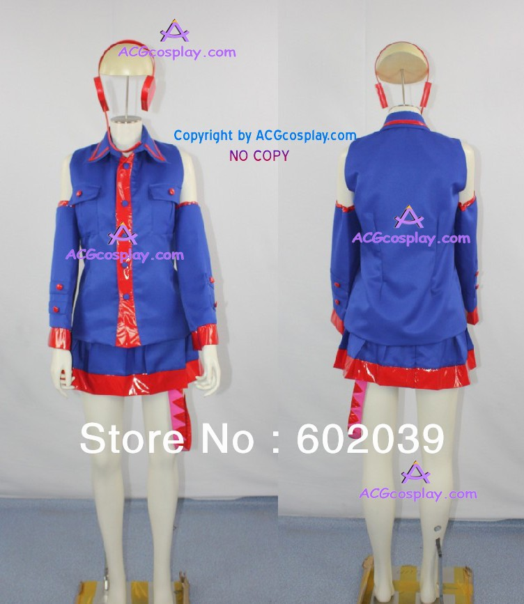 Vocaloid Kasane teto Cosplay Costume include headphone prop sweet red medium vocaloid kasane teto cosplay wig with curly bunches