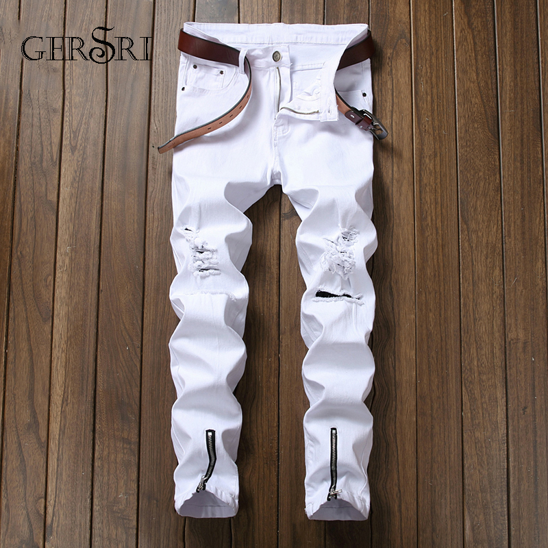 Gersri High Quality Fashion Men's Jeans Biker Jeans Hip Hop Straight Skinny Ripped White Denim Pants Nightclub Zipper Trousers