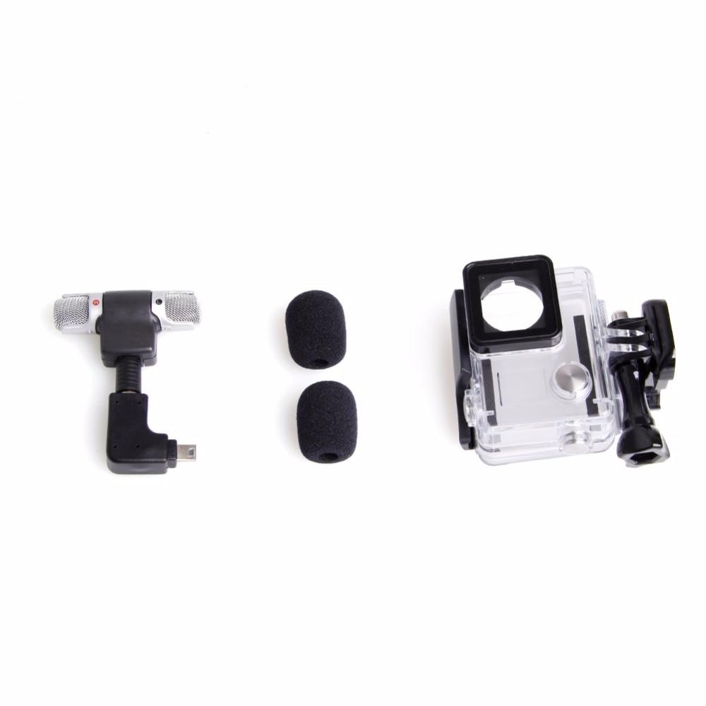Side Open Skeleton Housing Case Adapter Kit Microphone for GoPro Hero 4 3 3
