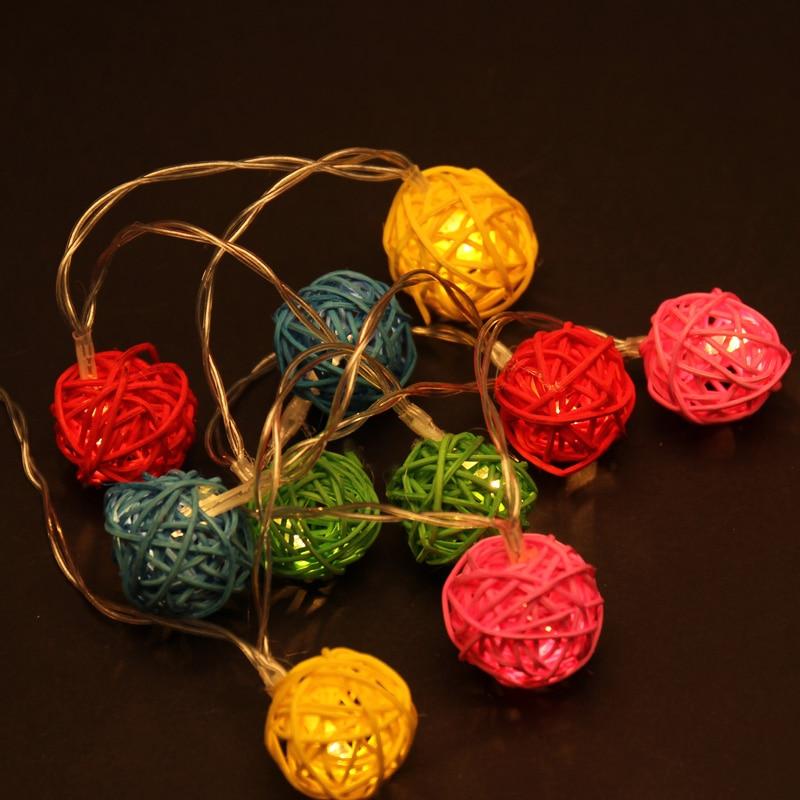 2M LED String Light Warm White 20 LED Rattan Ball String Lights Christmas Garden Wedding Party Holiday Decor Fairy Lights