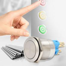 цены Button Switch 20Pcs 22mm Self-locking Type Flat Head Stainless Steel Button Switch button switch